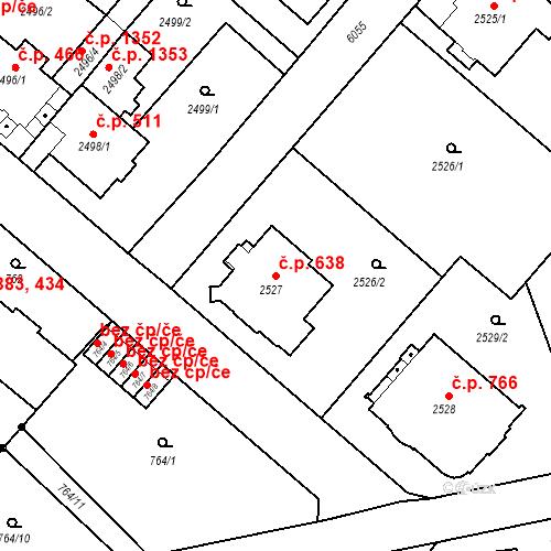 Katastrální mapa Stavební objekt Liberec I-Staré Město 638, Liberec
