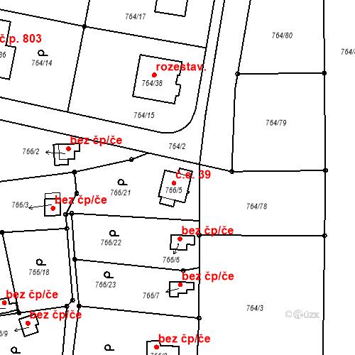 Katastrální mapa Stavební objekt Liberec XXV-Vesec 39, Liberec