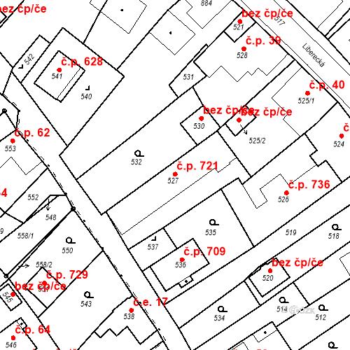 Katastrální mapa Stavební objekt Hodkovice nad Mohelkou 721, Hodkovice nad Mohelkou
