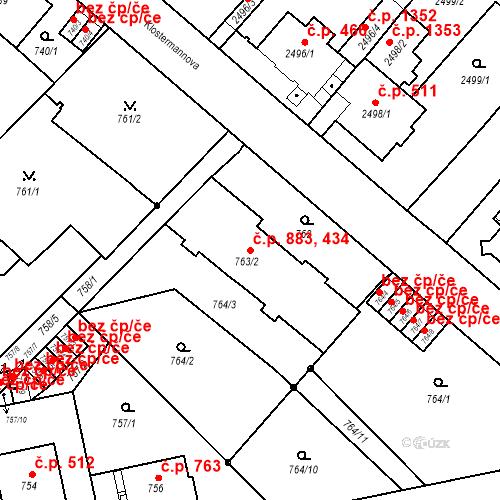 Katastrální mapa Stavební objekt Liberec I-Staré Město 434, 883, Liberec