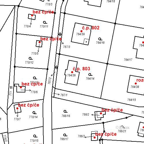 Katastrální mapa Stavební objekt Liberec XXV-Vesec 803, Liberec