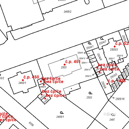 Katastrální mapa Stavební objekt Liberec I-Staré Město 451, Liberec