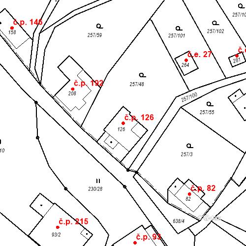 Katastrální mapa Stavební objekt Liberec XXXII-Radčice 126, Liberec