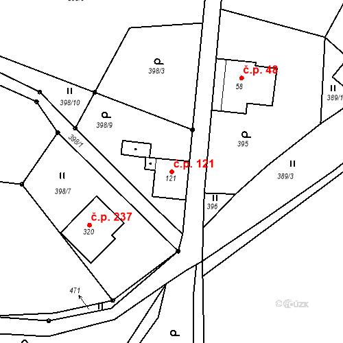Katastrální mapa Stavební objekt Liberec XXXII-Radčice 121, Liberec