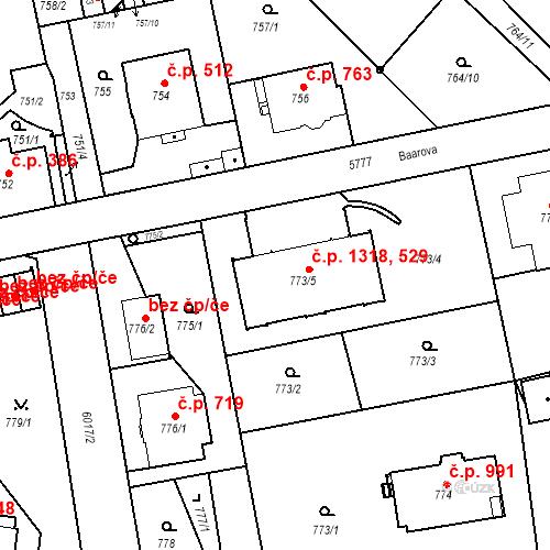 Katastrální mapa Stavební objekt Liberec I-Staré Město 529, 1318, Liberec
