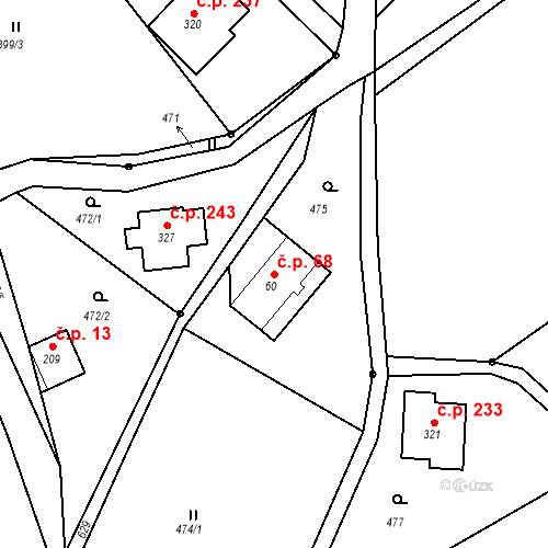 Katastrální mapa Stavební objekt Liberec XXXII-Radčice 68, Liberec