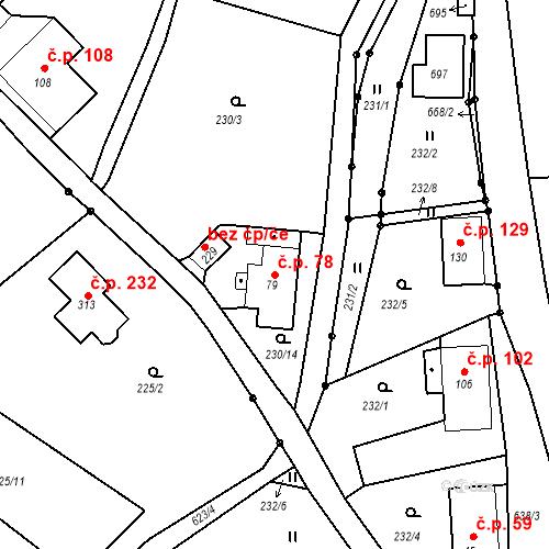 Katastrální mapa Stavební objekt Liberec XXXII-Radčice 78, Liberec