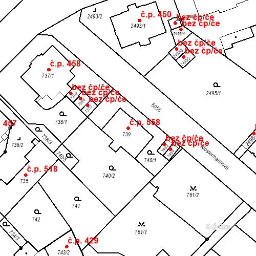 Katastrální mapa Stavební objekt Liberec I-Staré Město 558, Liberec