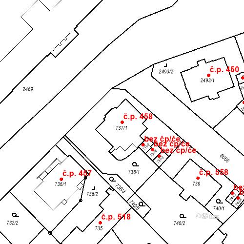 Katastrální mapa Stavební objekt Liberec I-Staré Město 458, Liberec