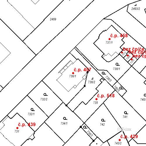 Katastrální mapa Stavební objekt Liberec I-Staré Město 457, Liberec