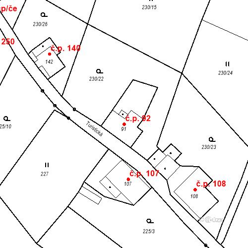 Katastrální mapa Stavební objekt Liberec XXXII-Radčice 92, Liberec