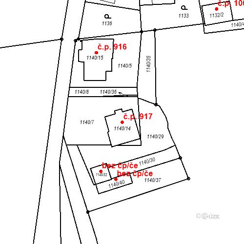Katastrální mapa Stavební objekt Liberec XIV-Ruprechtice 917, Liberec
