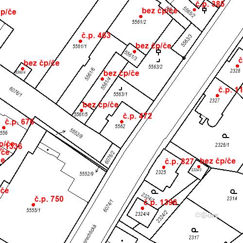 Katastrální mapa Stavební objekt Liberec I-Staré Město 472, Liberec
