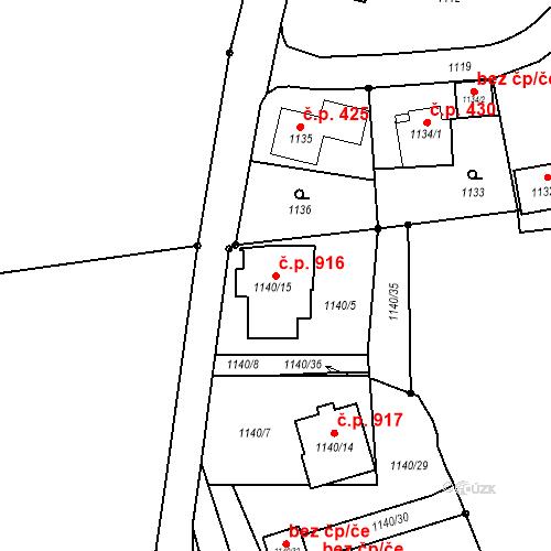 Katastrální mapa Stavební objekt Liberec XIV-Ruprechtice 916, Liberec