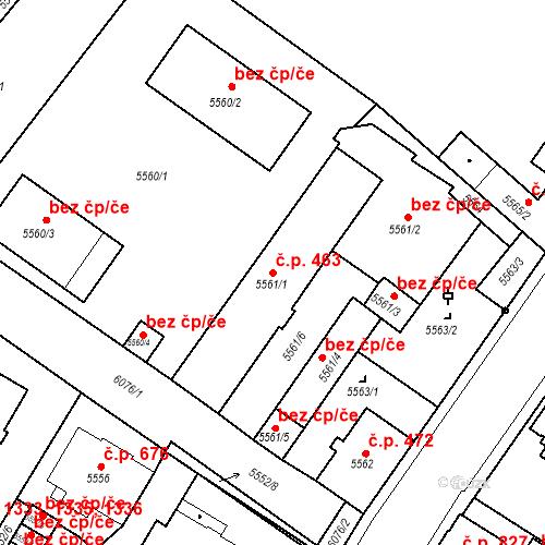 Katastrální mapa Stavební objekt Liberec I-Staré Město 463, Liberec