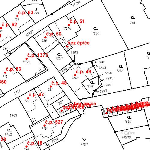 Katastrální mapa Stavební objekt Liberec I-Staré Město 49, Liberec