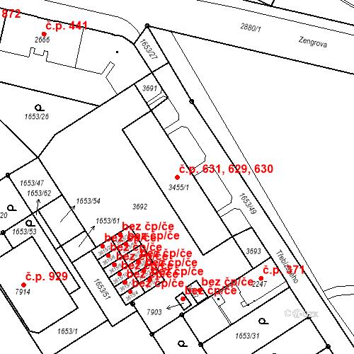 Katastrální mapa Stavební objekt Kolín IV 629, 630, 631, Kolín