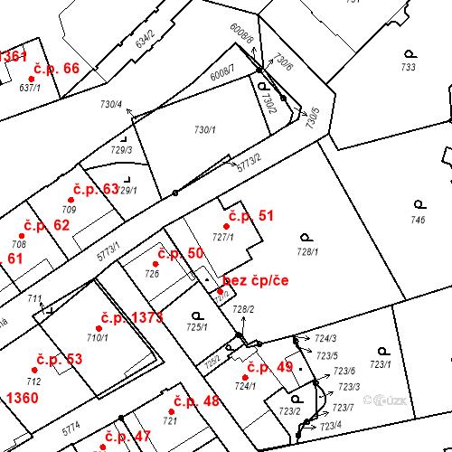 Katastrální mapa Stavební objekt Liberec I-Staré Město 51, Liberec