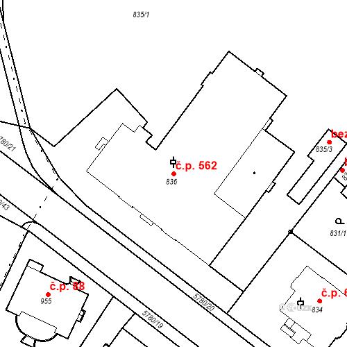 Katastrální mapa Stavební objekt Liberec I-Staré Město 562, Liberec