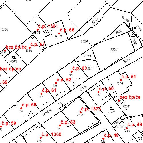 Katastrální mapa Stavební objekt Liberec I-Staré Město 63, Liberec