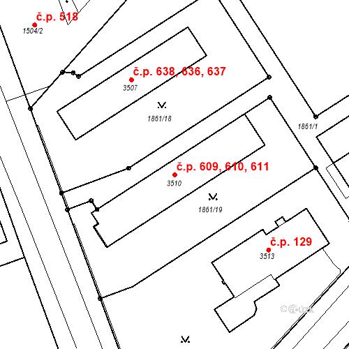 Katastrální mapa Stavební objekt Kolín IV 609, 610, 611, Kolín