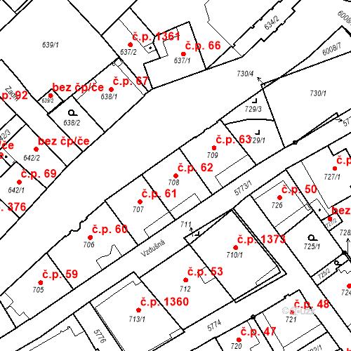Katastrální mapa Stavební objekt Liberec I-Staré Město 62, Liberec