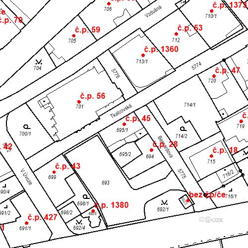 Katastrální mapa Stavební objekt Liberec I-Staré Město 45, Liberec