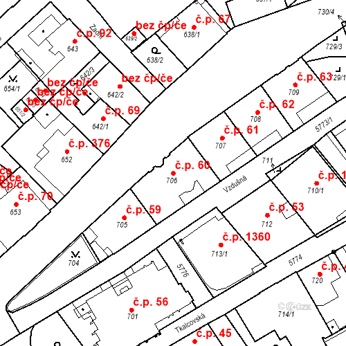 Katastrální mapa Stavební objekt Liberec I-Staré Město 60, Liberec