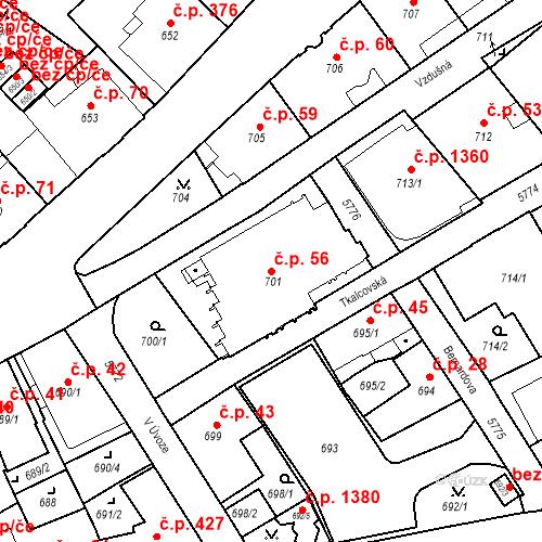 Katastrální mapa Stavební objekt Liberec I-Staré Město 56, Liberec