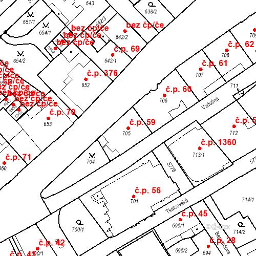 Katastrální mapa Stavební objekt Liberec I-Staré Město 59, Liberec