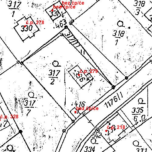 Katastrální mapa Stavební objekt Dlouhý Most 279, Dlouhý Most