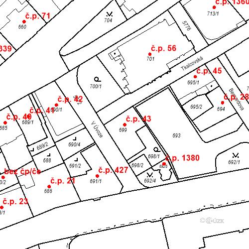 Katastrální mapa Stavební objekt Liberec I-Staré Město 43, Liberec