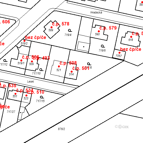 Katastrální mapa Stavební objekt Velký Osek 501, Velký Osek