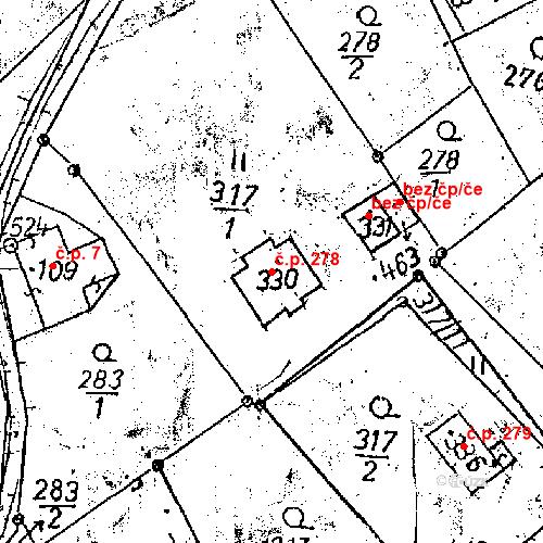 Katastrální mapa Stavební objekt Dlouhý Most 278, Dlouhý Most