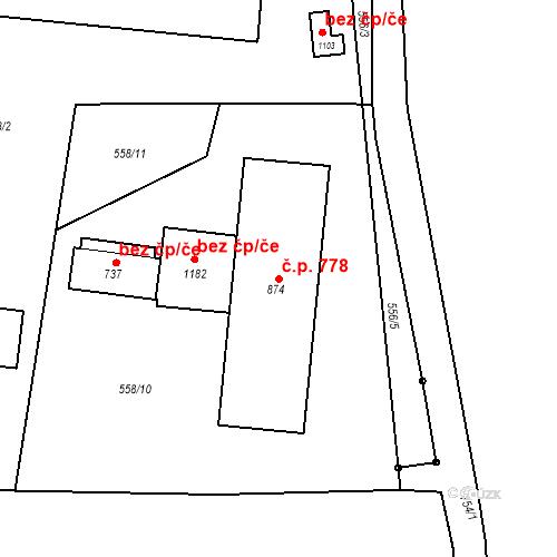 Katastrální mapa Stavební objekt Velký Osek 778, Velký Osek