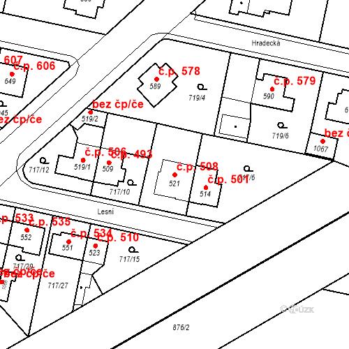 Katastrální mapa Stavební objekt Velký Osek 508, Velký Osek