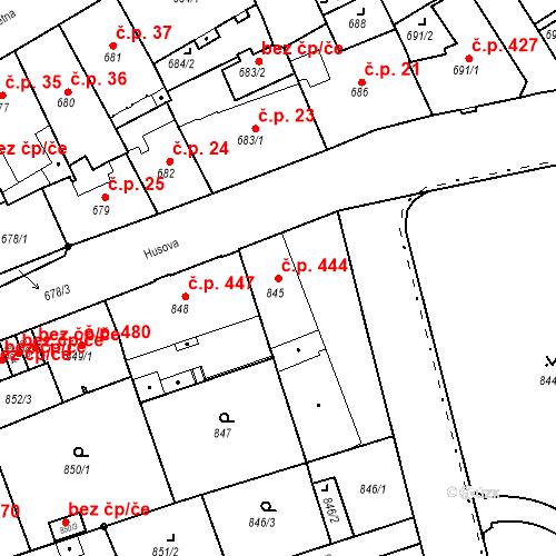 Katastrální mapa Stavební objekt Liberec I-Staré Město 444, Liberec