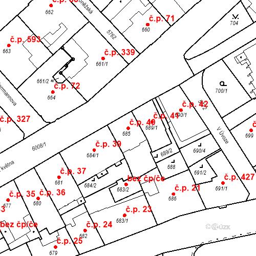 Katastrální mapa Stavební objekt Liberec I-Staré Město 40, Liberec
