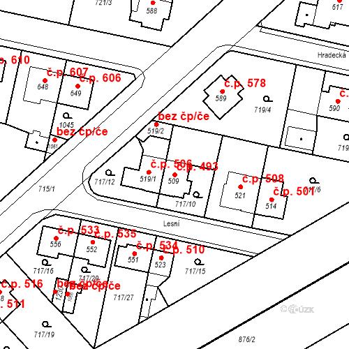 Katastrální mapa Stavební objekt Velký Osek 493, Velký Osek