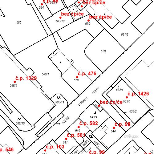 Katastrální mapa Stavební objekt Liberec I-Staré Město 476, Liberec