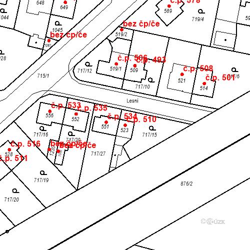 Katastrální mapa Stavební objekt Velký Osek 510, Velký Osek