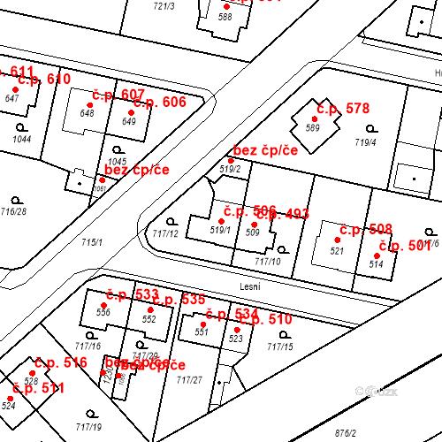 Katastrální mapa Stavební objekt Velký Osek 506, Velký Osek