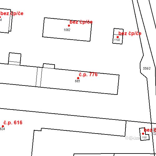 Katastrální mapa Stavební objekt Velký Osek 776, Velký Osek