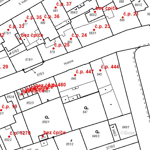 Katastrální mapa Stavební objekt Liberec I-Staré Město 447, Liberec