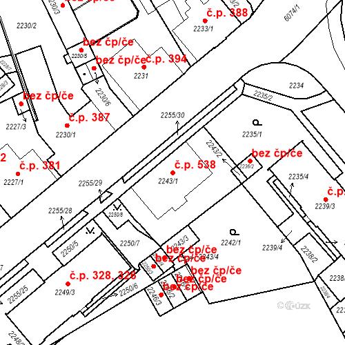 Katastrální mapa Stavební objekt Liberec I-Staré Město 538, Liberec