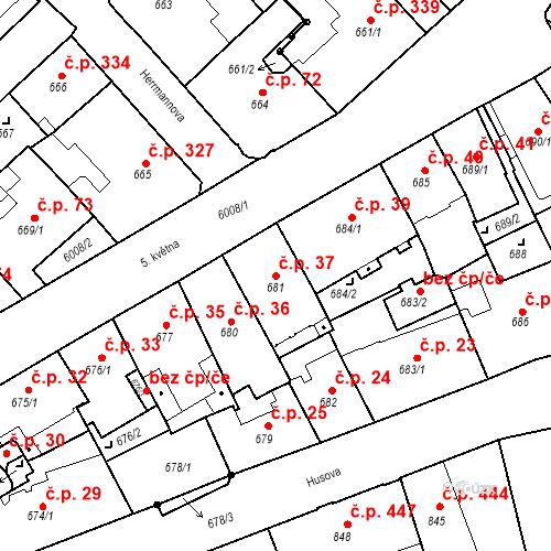 Katastrální mapa Stavební objekt Liberec I-Staré Město 37, Liberec
