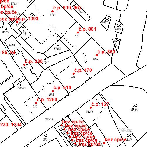 Katastrální mapa Stavební objekt Liberec I-Staré Město 470, Liberec