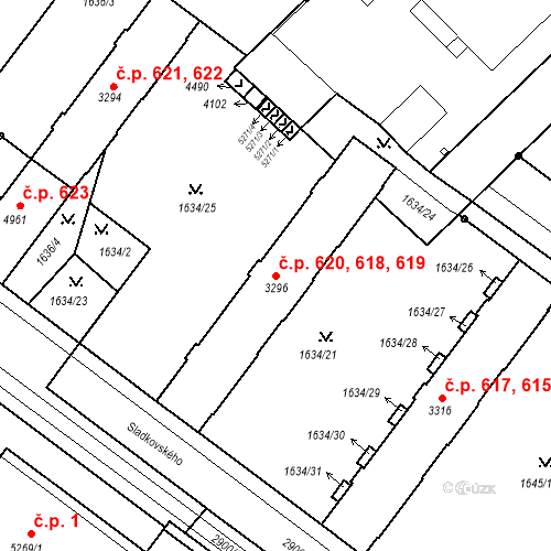 Katastrální mapa Stavební objekt Kolín IV 618, 619, 620, Kolín