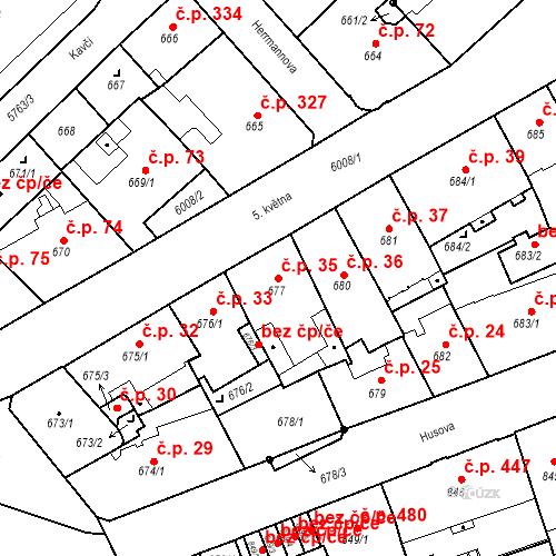 Katastrální mapa Stavební objekt Liberec I-Staré Město 35, Liberec
