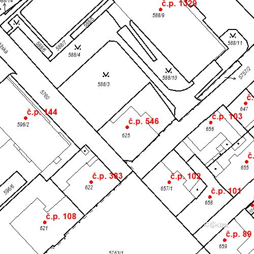 Katastrální mapa Stavební objekt Liberec I-Staré Město 546, Liberec